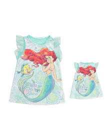 DISNEY Toddler Girls Ariel Sleep Gown With Doll Dr
