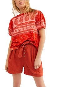 Free People Paisley Puff Sleeve T-Shirt