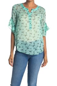 Vince Camuto Bouquet Ruffle Cuff Printed Blouse