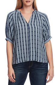 Vince Camuto Elbow Bubble Sleeve Starburst Top