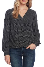 Vince Camuto Textured Fragments Long Sleeve Top