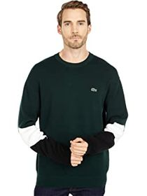 Lacoste Long Sleeve Color-Blocked Double Face Crew