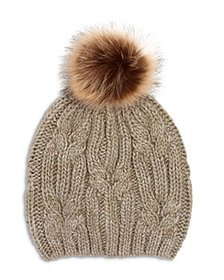 Echo - Cable Knit Hat with Faux Fur Pom Pom