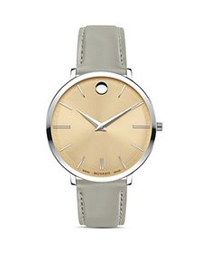 Movado - Ultra Slim Gray Leather Strap Watch, 35mm
