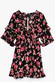 Nasty Gal Black Grow for It Floral Mini Dress
