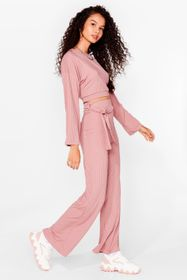 Nasty Gal Rose Running Out of Tie Ribbed Wide-Leg