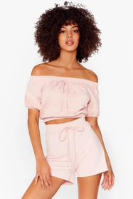 Nasty Gal Pink Day Off-the-Shoulder Crop Top and S