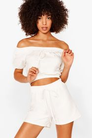 Nasty Gal White Day Off-the-Shoulder Crop Top and