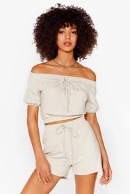 Nasty Gal Stone Day Off-the-Shoulder Crop Top and