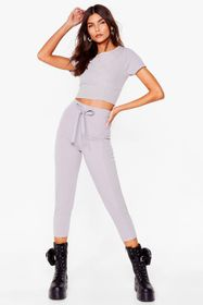 Nasty Gal Grey Take Its Corset Cropped Tee and Pan
