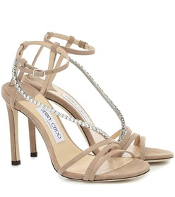 Jimmy Choo Thaia 100 embellished suede sandals