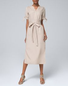 Linen-Blend Midi Dress with Removable Belt