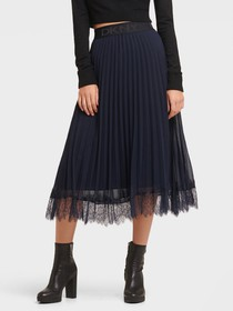 Donna Karan PLEATED SKIRT WITH LACE HEM