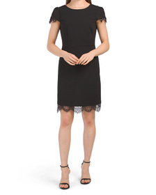 Lace Trim Scuba Dress