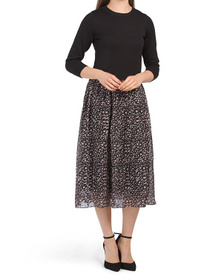 Twofer Sweater Top Chiffon Skirt Dress