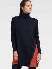 Donna Karan MIXED MEDIA TURTLENECK WITH LACE ACCEN