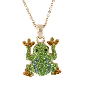 Womens Gold-Tone & Green Crystal Frog Pendant Neck