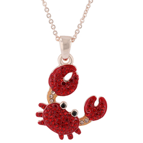 Womens Rose Gold-Tone & Red Crystal Crab Pendant N