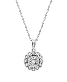 "Diamond Halo Cluster 18"" Pendant Necklace (1/10 ct"