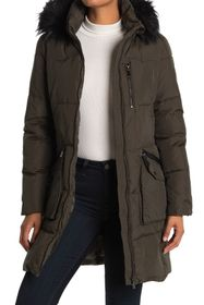 DKNY Faux Fur Trim Down Coat