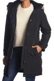 DKNY Button Down Coat with Faux Fur Hood