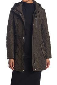 DKNY Cinch Waist Quilt Jacket with Hood
