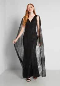 Bariano Cloaked and Loaded Maxi Dress in Black