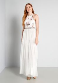 Folk and Mirrors Maxi Dress in White
