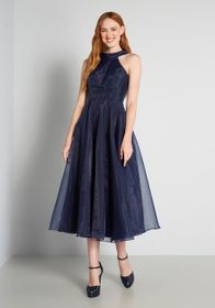 Into The Deep End Midi Dress in Navy Blue