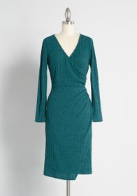ModCloth Knit on the Town Faux-Wrap Dress Green