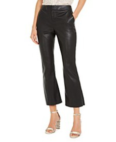 INC Faux-Leather Crop Flare Pants, Created for Mac
