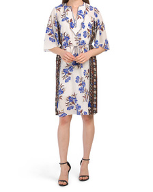 Silk Printed Short Sleeve Dress