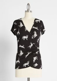 ModCloth ModCloth That's a Wrap Surplice Top in Bl