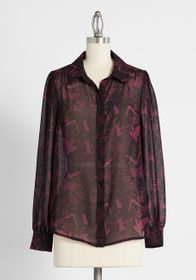 ModCloth ModCloth Be Buzzworthy Sheer Button-Up To