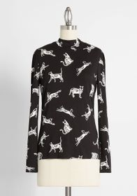 ModCloth ModCloth You Got This Mock Neck Top in Bl