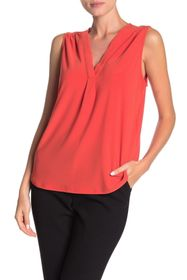 Vince Camuto Solid Sleeveless Split Neck Top