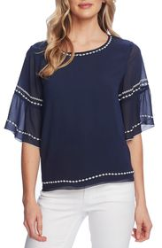 Vince Camuto Embroidered Bell Sleeve Chiffon Blous