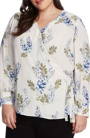Vince Camuto Floral Long Sleeve Wrap Blouse