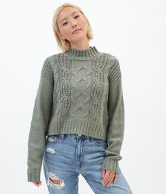 Aeropostale Cable-Knit Mock-Neck Sweater***