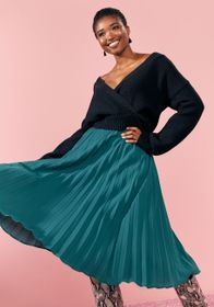 ModCloth ModCloth Prim and Pleated Midi Skirt in G