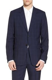 Theory Chambers Plaid Wool Trim Fit Suit Separates