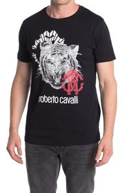 Roberto Cavalli Tiger Graphic Crew Neck T-Shirt