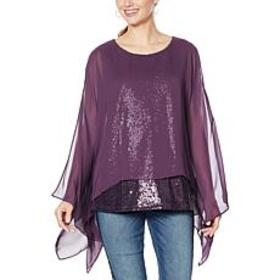 DG2 by Diane Gilman Sequin Chiffon Tiered Poncho T