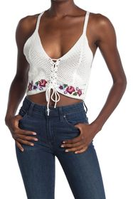 TOPSHOP Embroidered Lace-Up Crochet Crop Tank Top