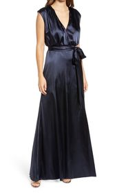 Dessy Collection V-Neck Stretch Charmeuse Gown