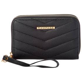 Womens Rampage Chevron Quilted Double Zip Wristlet