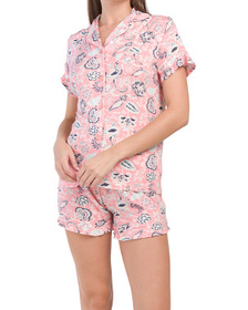 CATHERINE MALANDRINO 2pc Paisley Notch Shortie Set