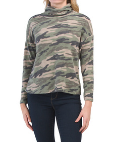 Waffle Knit Camo Print Convertible Cowl Neck Top W