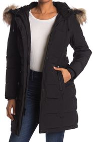 Nine West Faux Shearling & Faux Fur Trim Hooded Pu