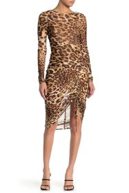 bebe Leopard Print Mesh Long Sleeve Dress